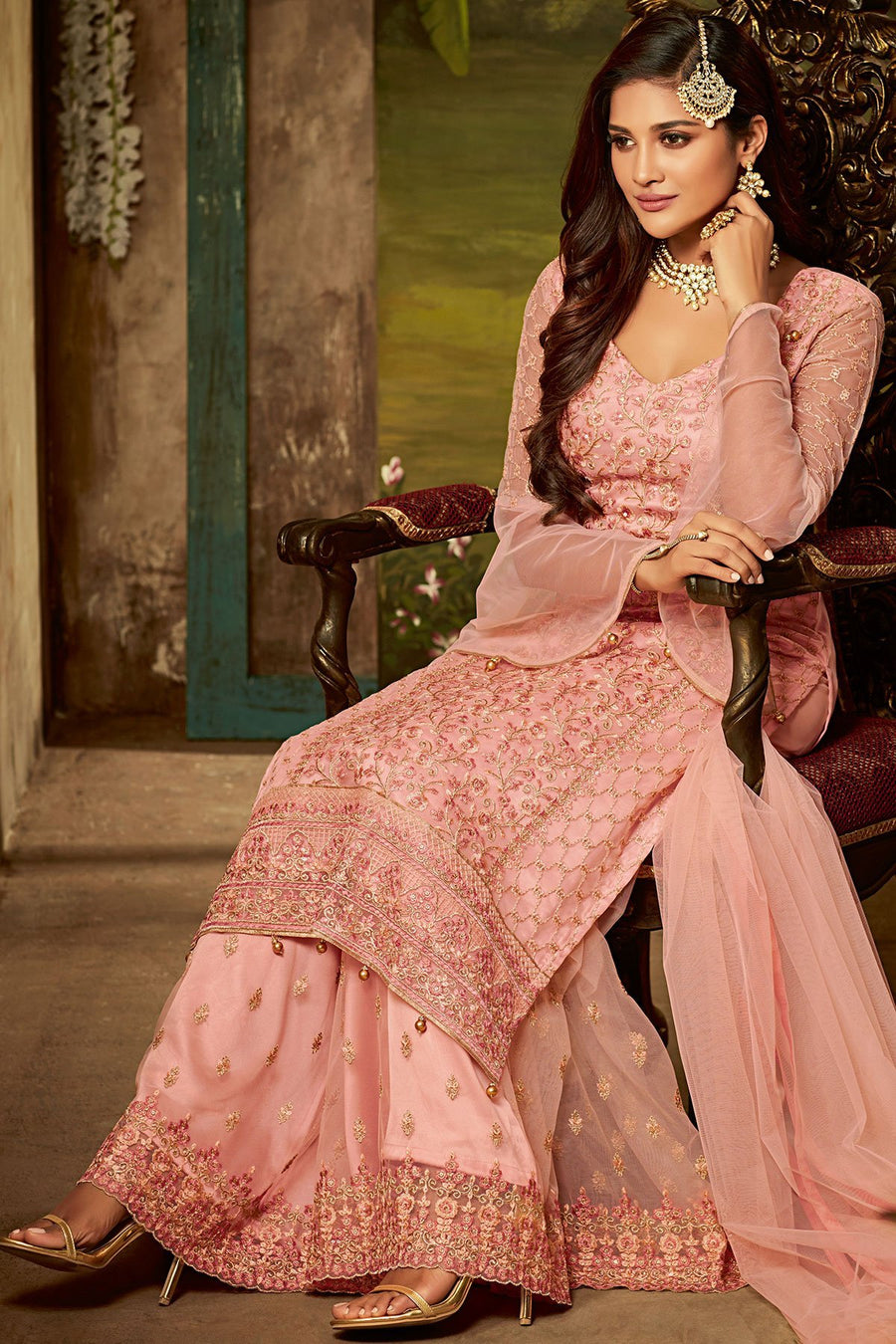 Flamingo Pink Party Wear Suit with Palazzo