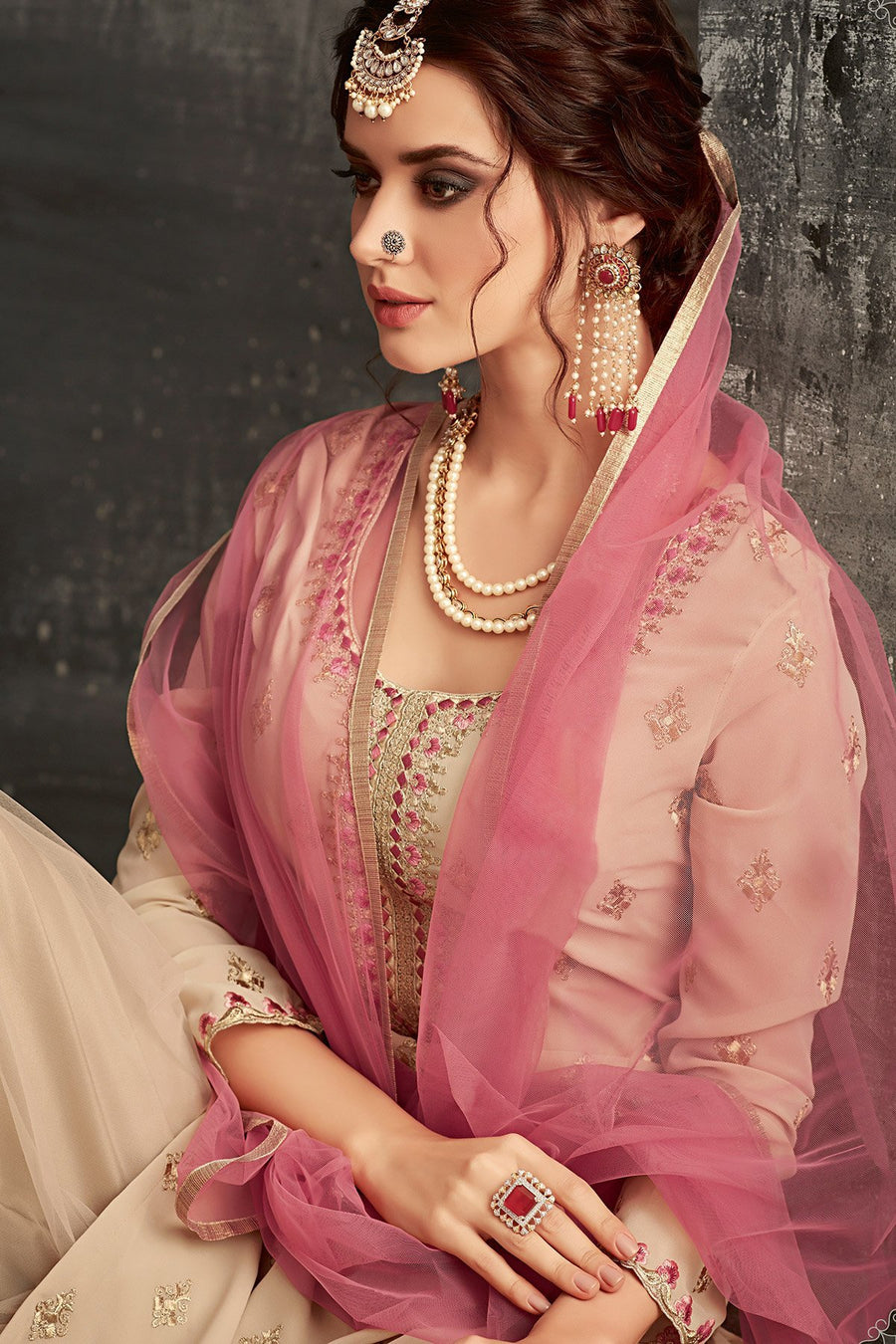 Georgette Sharara suit in light Brown with Pink Dupatta