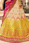 Golden and Ruby Red Silk Lehenga Choli