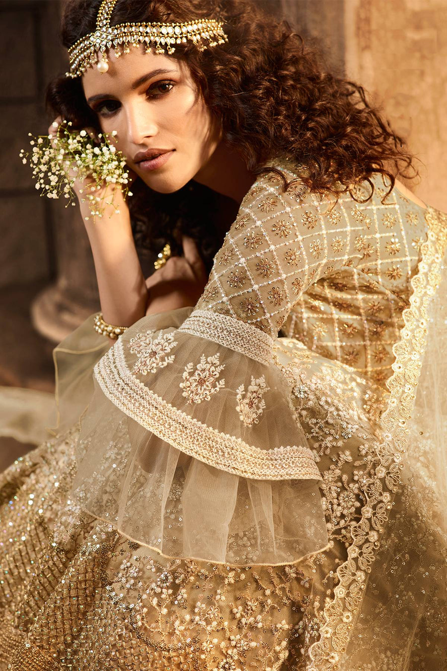 Golden Beige Net Lehenga Choli Set