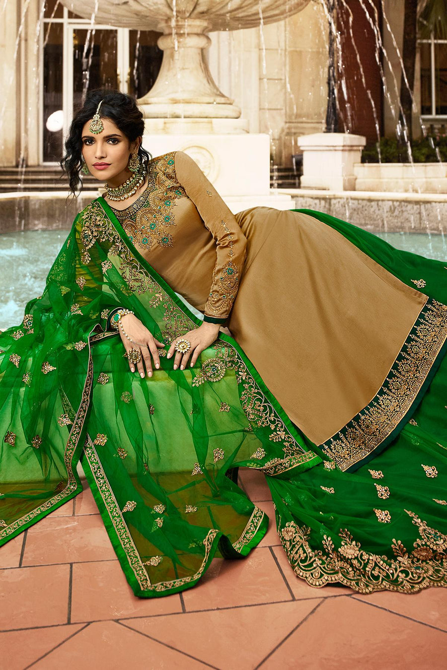 Golden Brown And Green Designer Gharara Suit