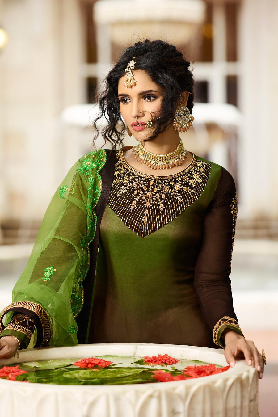 Green And Brown Designer Gharara Suit