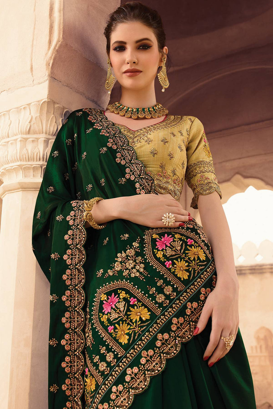 Green and Golden Designer Silk Sari