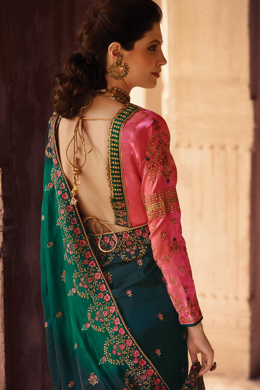 Green and Pink Designer Silk Sari