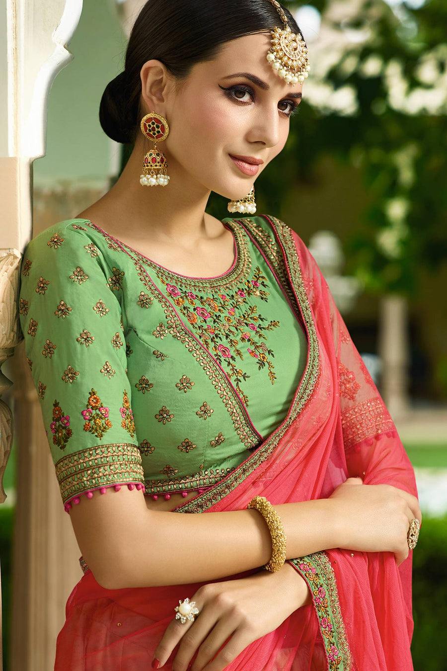 Green and Red Designer Silk Lehenga Choli