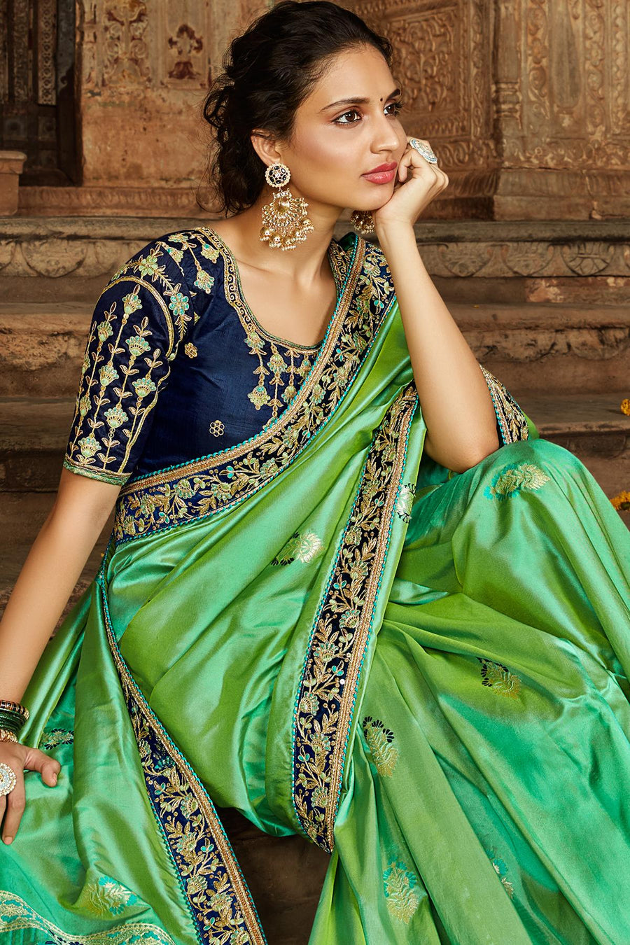 Green And Royal Blue Banarasi Silk Sari