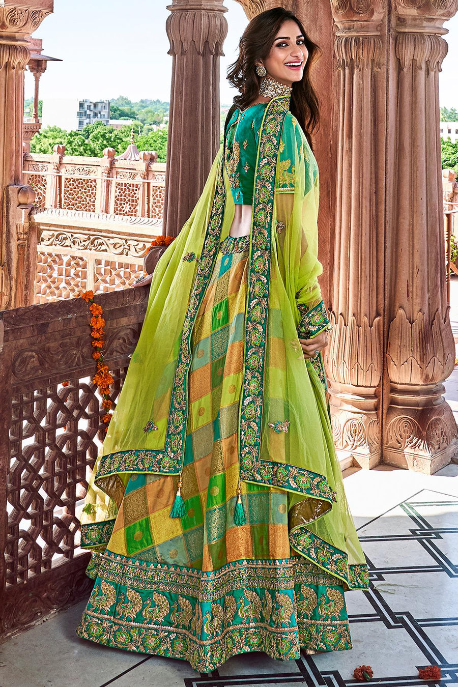 Green Banarasi Silk Wedding Lehenga Choli Set