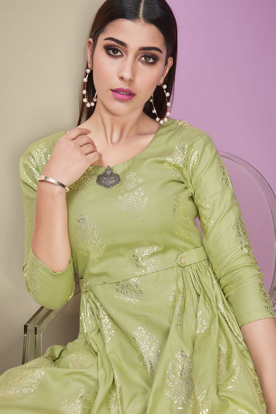 Green Designer Cotton Satin Kurti With Palazzo