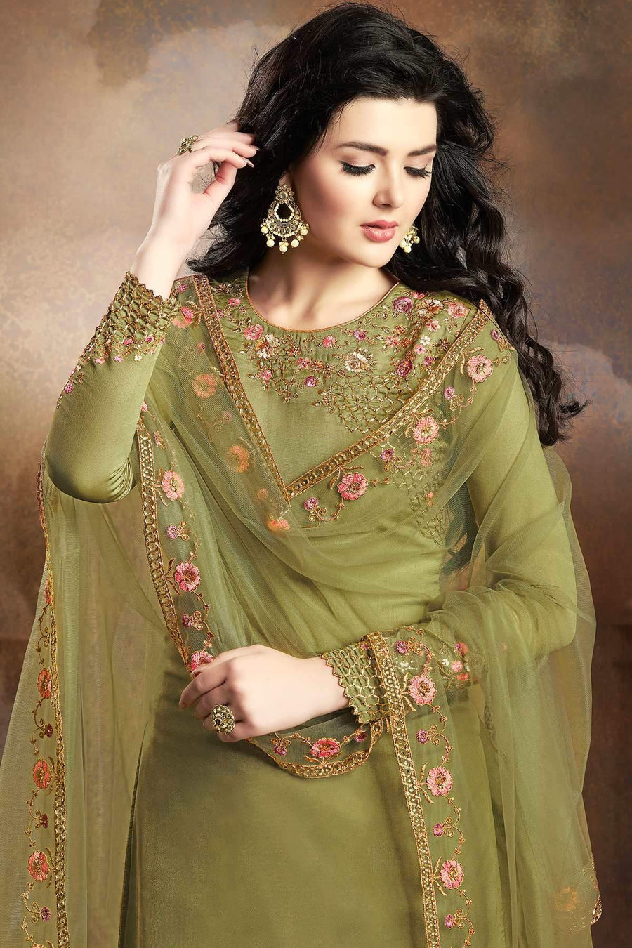 Green Designer Embroidered Silk Sharara Suit
