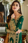 Green Designer Georgette Straight Suit