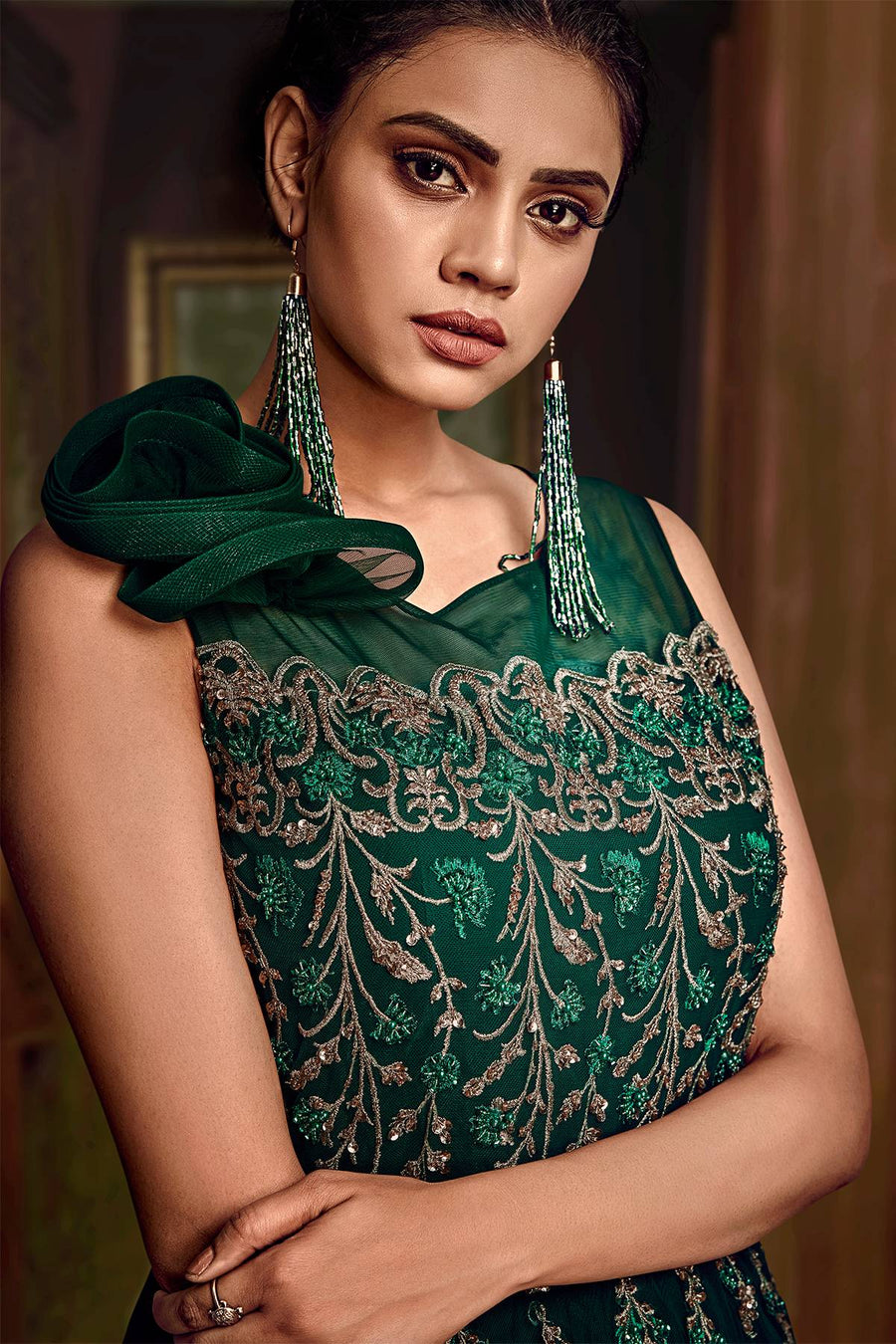 Green Designer Silk Gown
