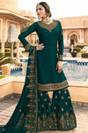 Green Embroidered Party Wear Sharara Suit