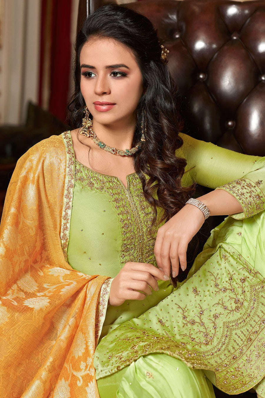 Green Georgette Embroidered Sharara Suit