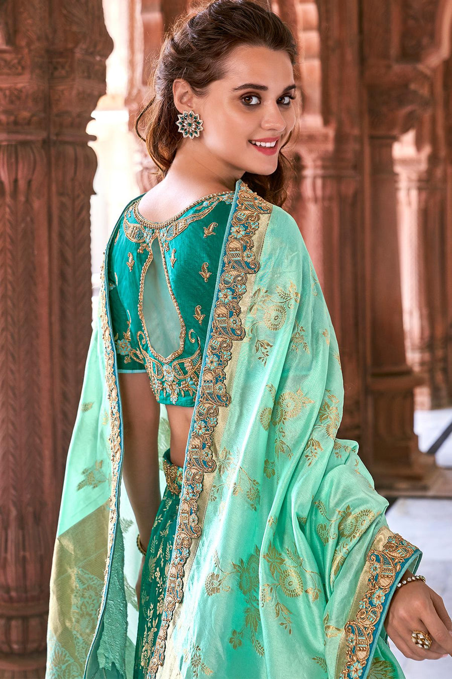 Green Wedding Lehenga Choli Set