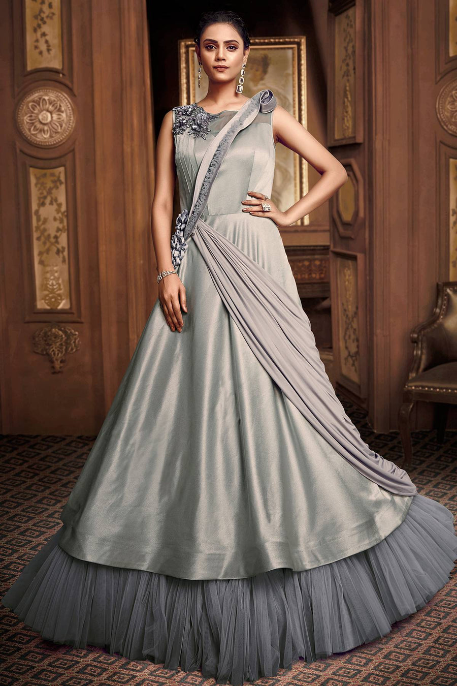 Greenish Grey Designer Silk Gown