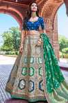 Grey and Blue Wedding Lehenga Choli Set