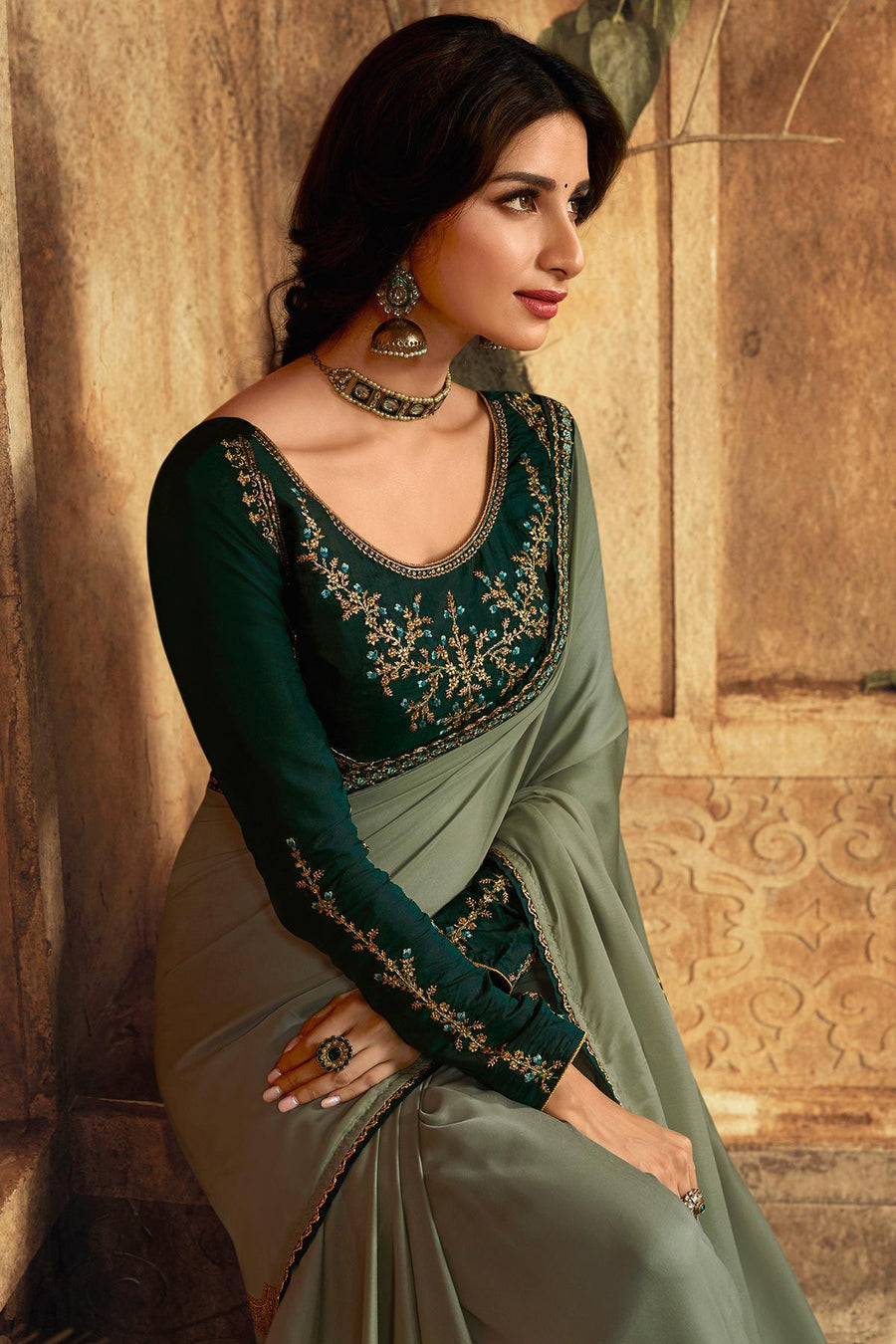 Grey And Light Green Designer Silk Sari