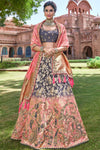 Grey and Pink Wedding Lehenga Choli Set
