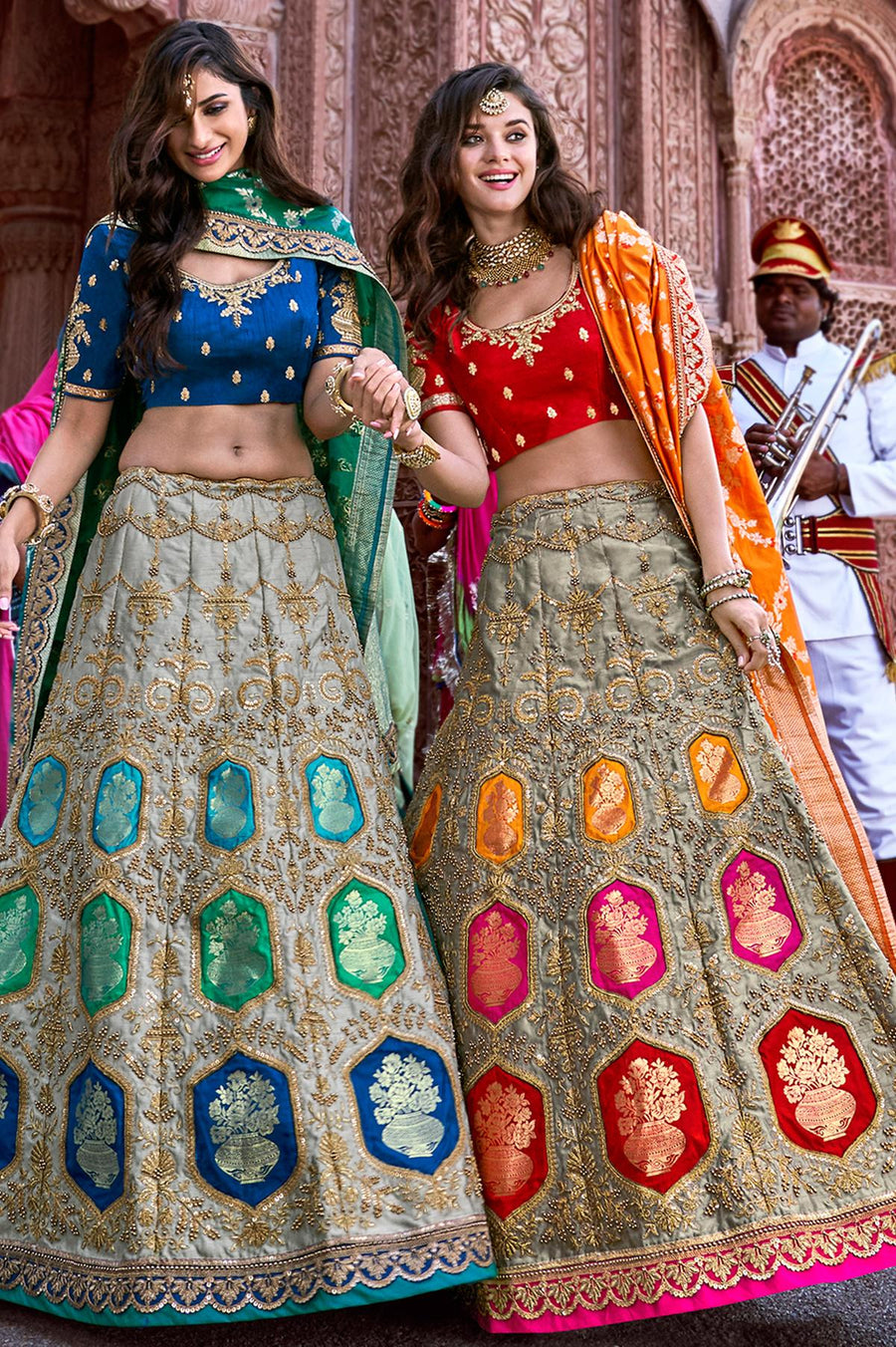 Grey and Red Wedding Lehenga Choli Set