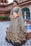 Grey Banarasi Silk Wedding Lehenga Choli Set