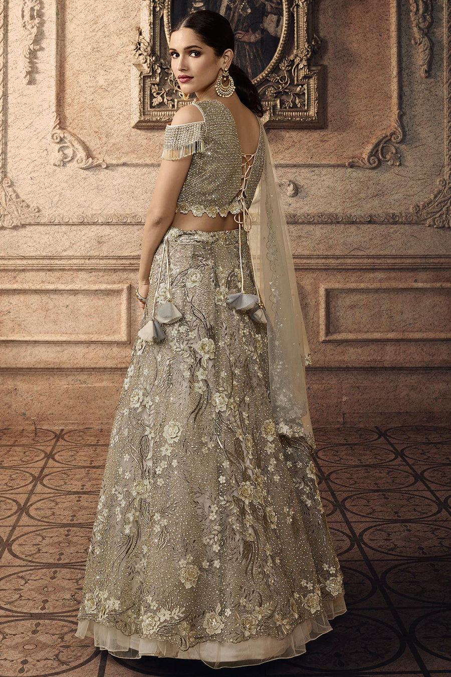 Grey Designer Net Lehenga Choli Set