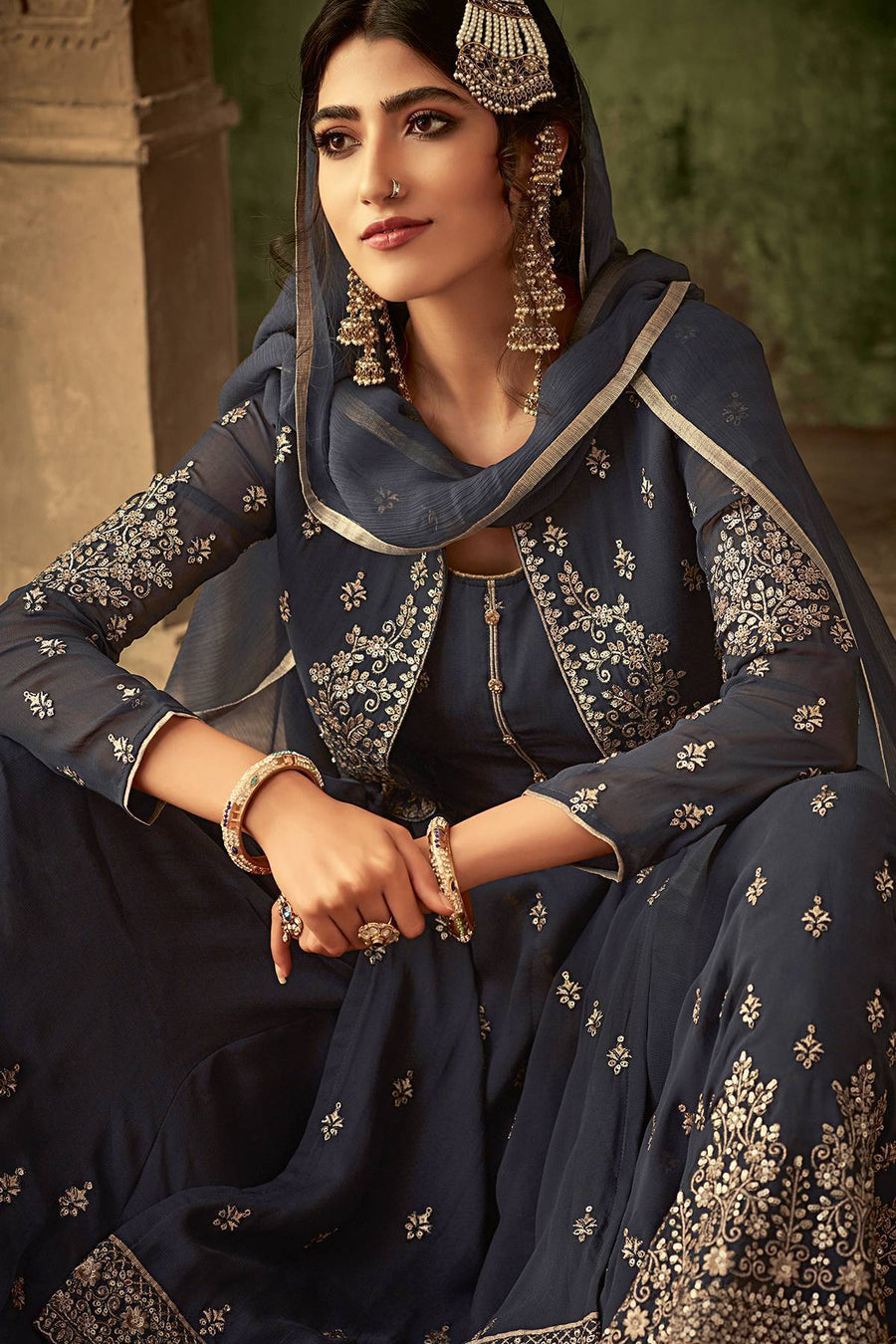Grey Designer Sharara Suit With Koti