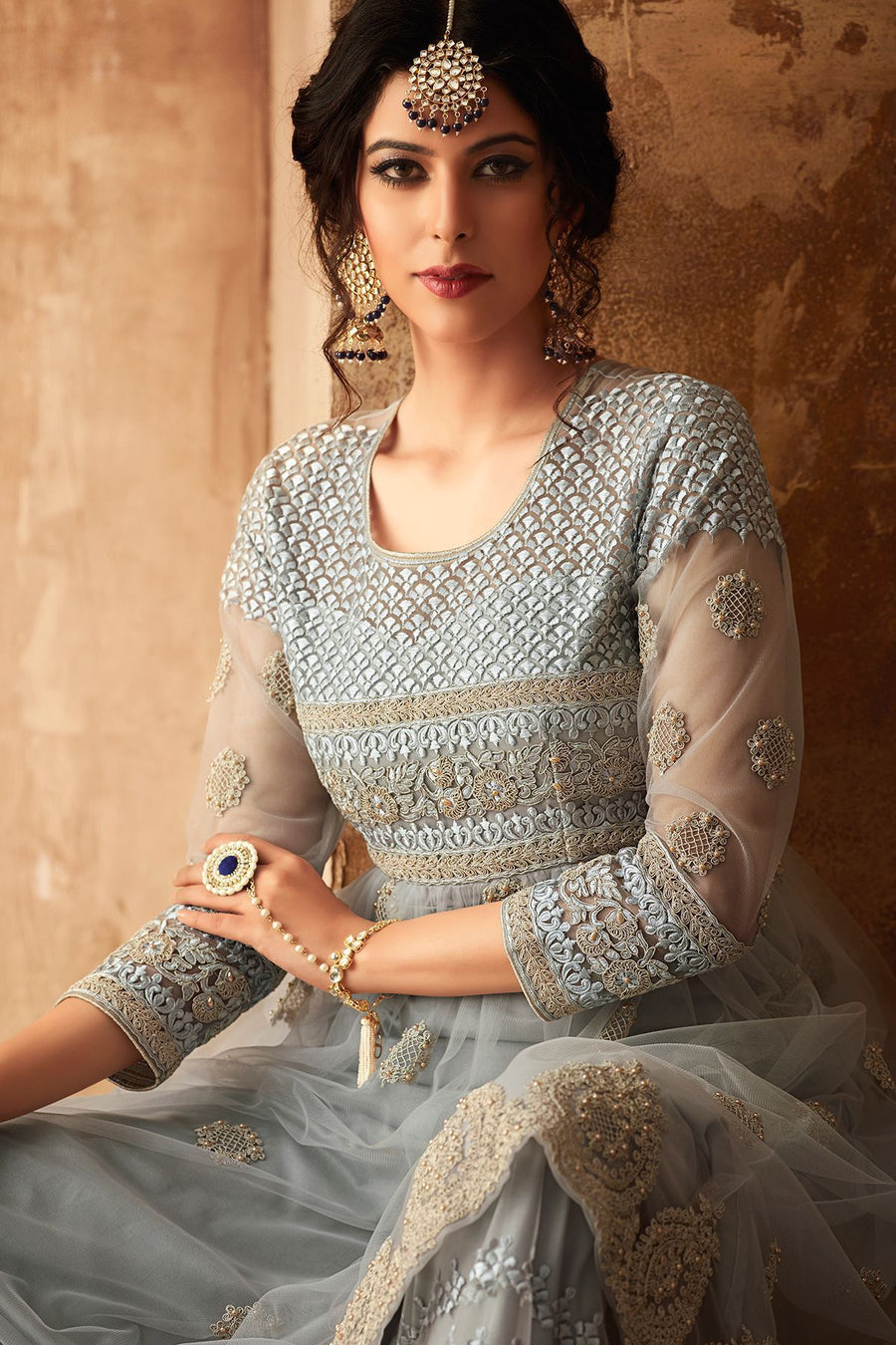 Grey Net Embroidered palazzo Suit