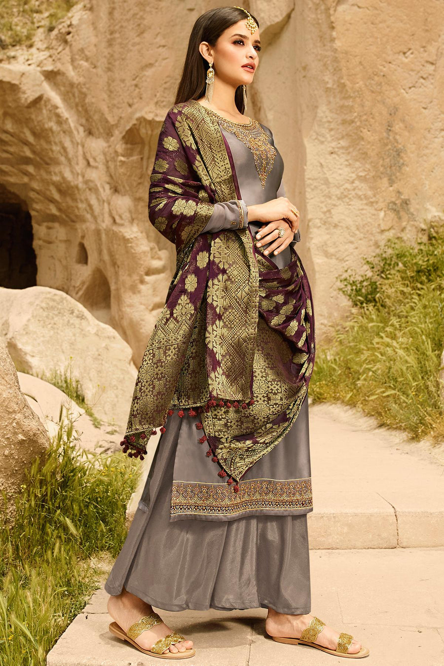Grey Satin Georgette Palazzo Suit