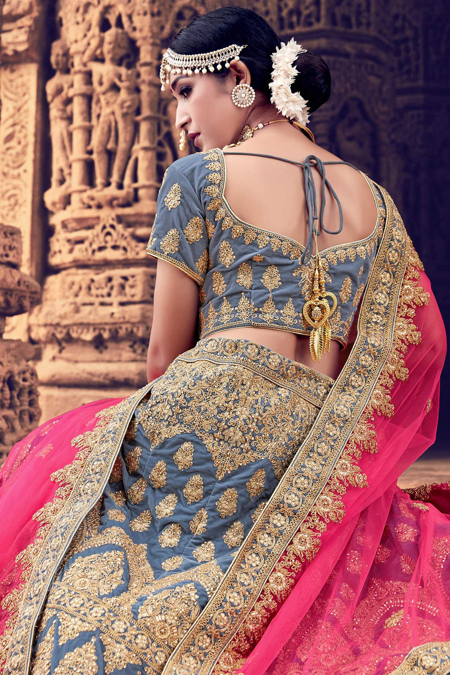 Grey Velvet Bridal Lehenga Choli