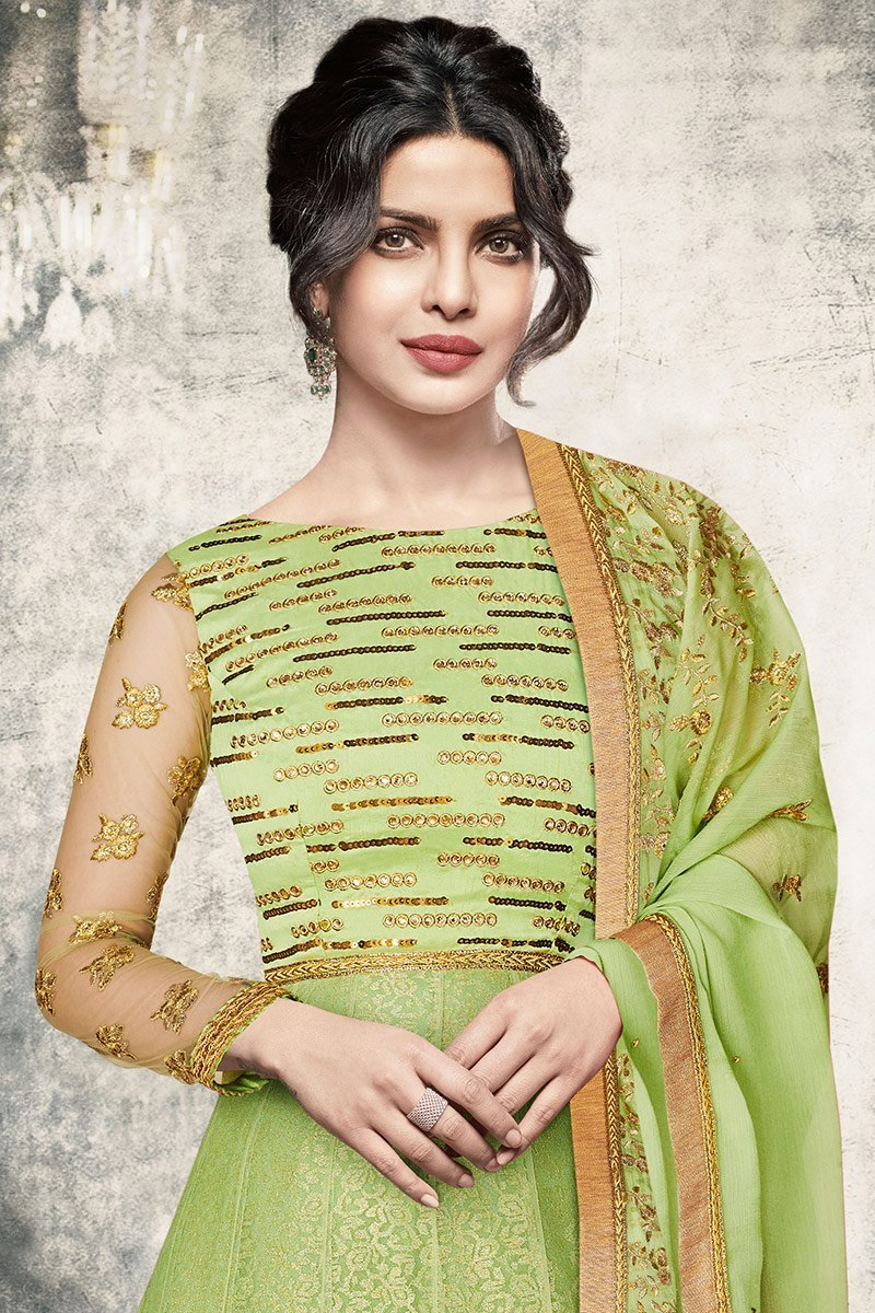 Charming Green color Party Wear Anarkali Suit