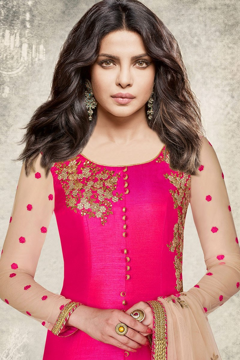 Adorable Silk Rani-Pink Party Wear Suit