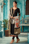 Midnight Black Georgette Party Wear Straight Cut Suit