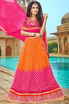 Pink and Orange Bhagalpuri Silk Designer Lehenga Set