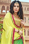 Green and Yellow Bhagalpuri Silk Designer Lehenga Set