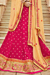 Pink and Yellow Bhagalpuri Silk Designer Lehenga Set