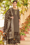 Coffee Colored Pure Dola Silk Partywear Suit With Palazzo