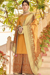 Canary Colored Pure Dola Silk Partywear Suit With Palazzo