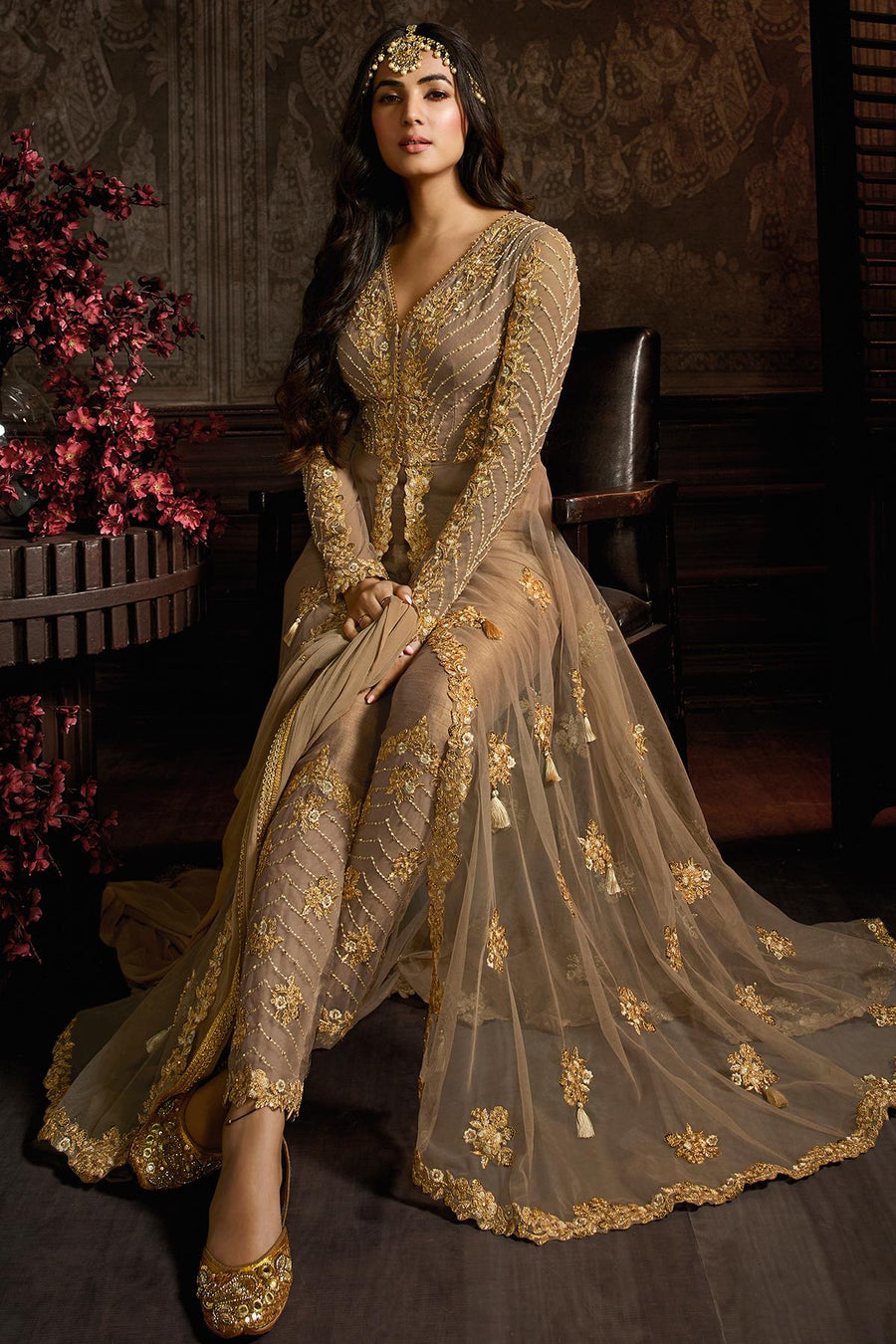 Light Brown Designer Net Anarkali Suit