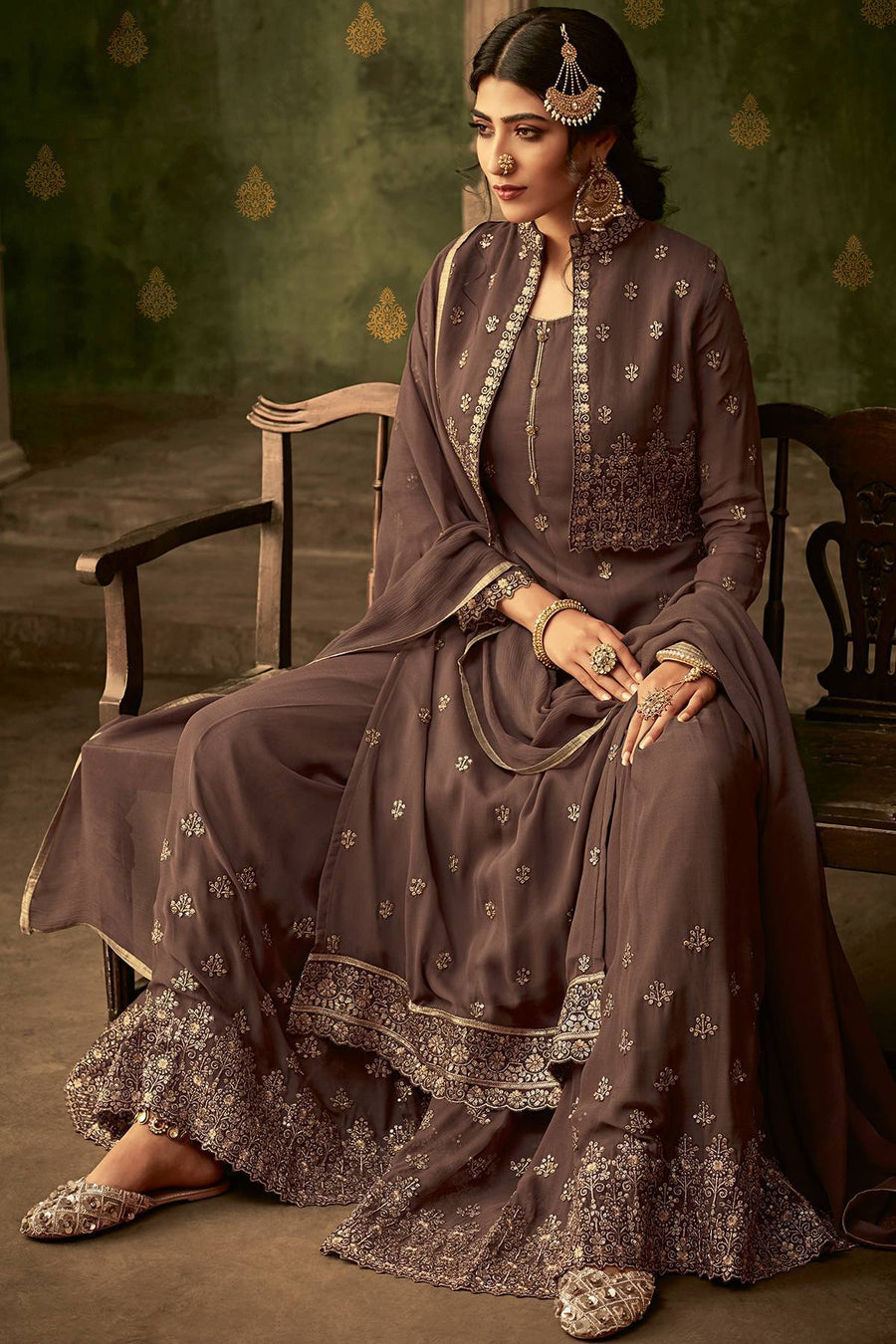 Light Brown Designer Sharara Suit With Koti