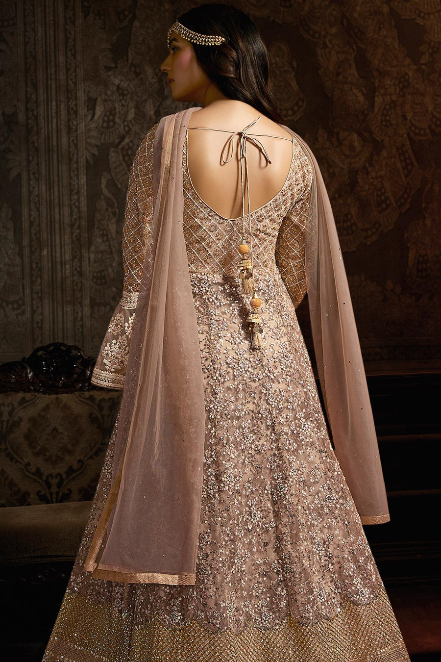 Light Mauve Designer Net Anarkali Suit
