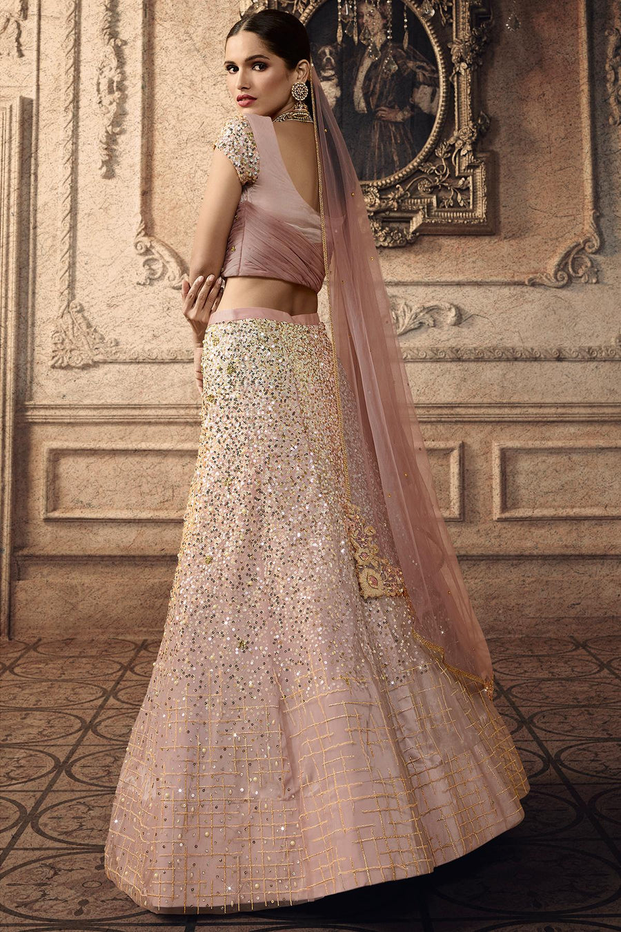 Light Mauve Designer Net Lehenga Choli Set
