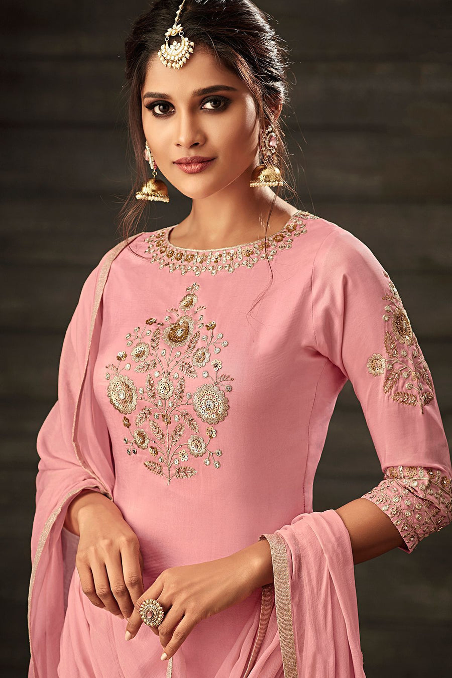 Light Pink Embroidered Party Wear Palazzo Suit