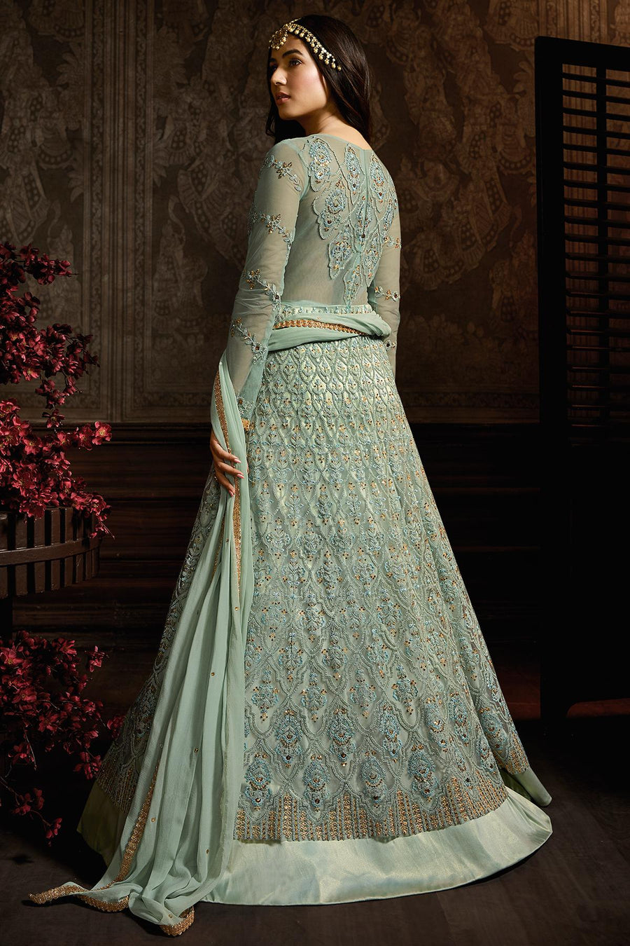 Light Teal Blue Designer Net Anarkali Suit