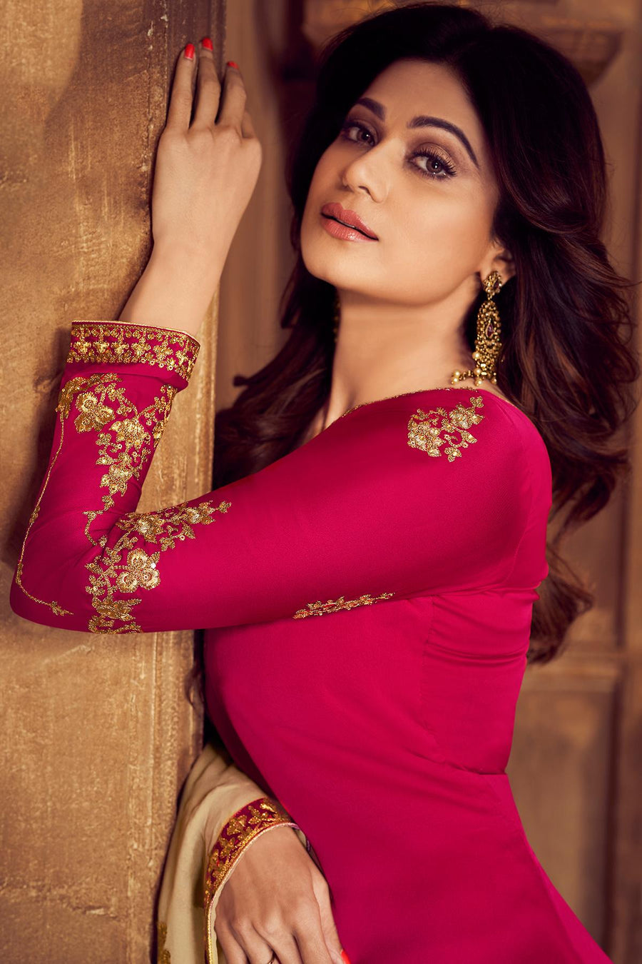 Magenta And Beige Georgette Sharara Suit