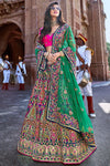 Magenta and Green Wedding Lehenga Choli Set