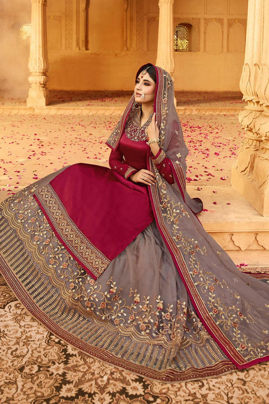 Magenta and Mauve Georgette Lehenga Style Suit