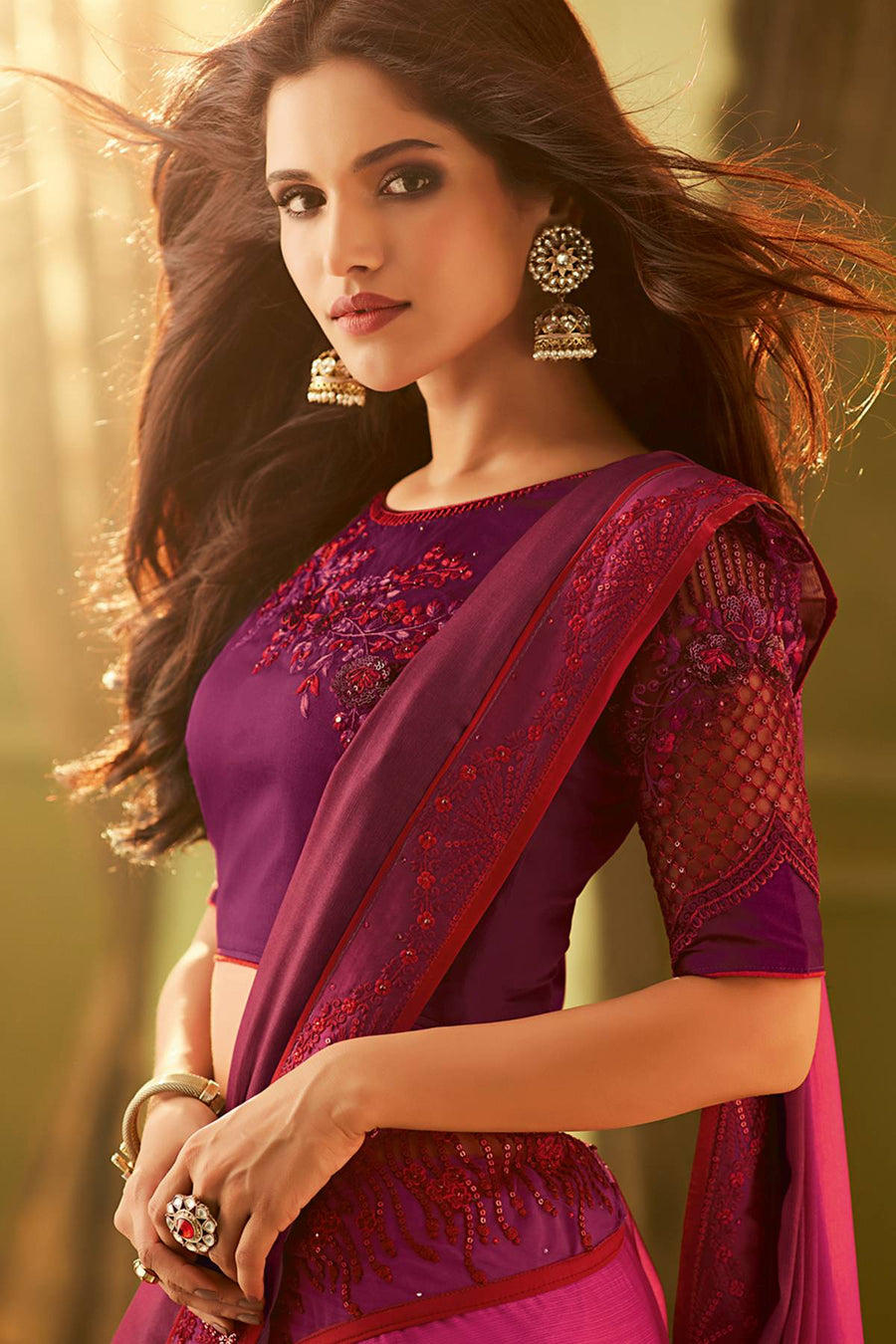 Magenta And Wine Designer Silk Sari