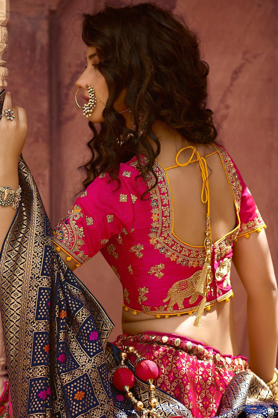 Magenta Party Wear Silk Lehenga Choli