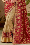 Red and Cream Silk Saree with Silk Blouse