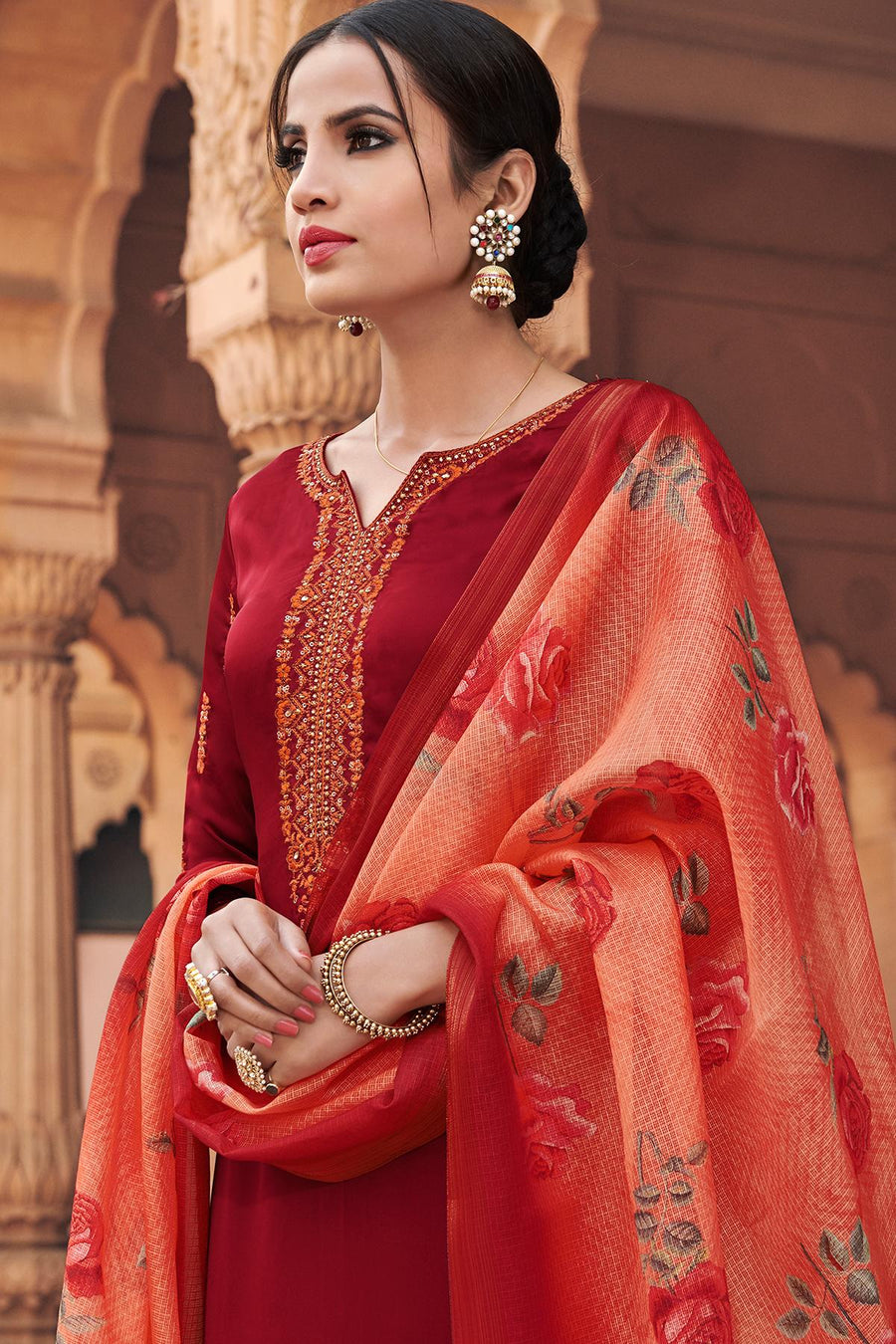 Maroon Traditional Party Wear Palazzo Suit